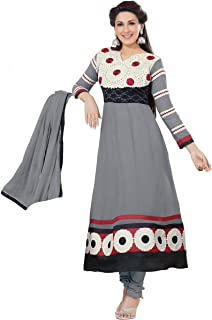 Florence Women's Georgette Straight Salwar Suit Set (SB-1439-Aug2019_Grey_One Size)