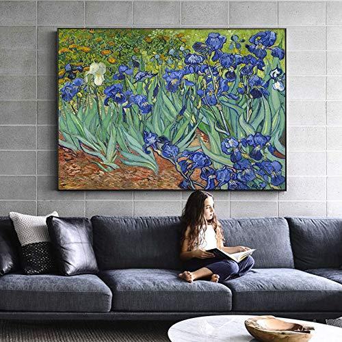 wZUN Van Gogh Iris Flor Lienzo Arte Impresiones impresionismo Flor Pared Arte Lienzo Pintura réplicas decoración del hogar 60x90 Sin Marco