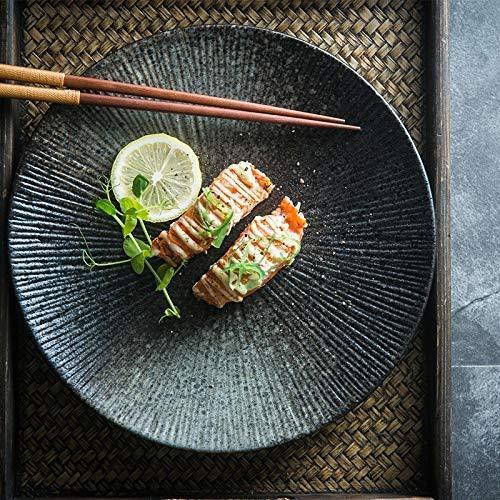 GaoF Creative Home Western Food Vajilla Retro Gradiente Rayas Underglaze Placa Placa de Color (Tamaño: S)