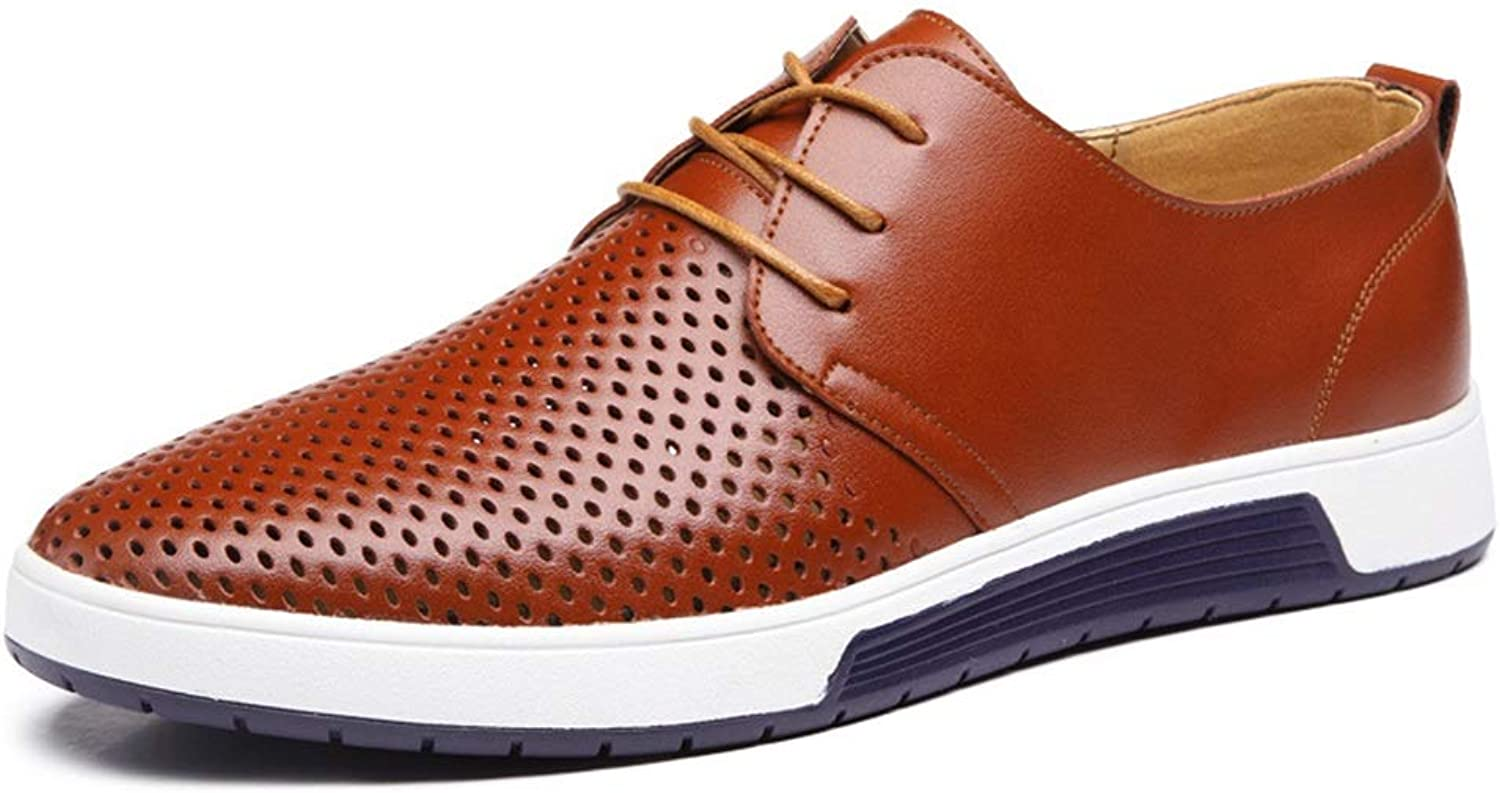 Fuxitoggo Men Breathable Casual Lace up shoes Large Size Round Toe Hollow out Comfortable Derb (color   Brown, Size   UK 6.5)