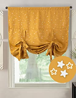 Hughapy Blackout Star Curtains Tie up Shade Window Panels for Small Window Bedroom Kitchen, Rod Pocket Panel (46W x 63L Inches, Gold)