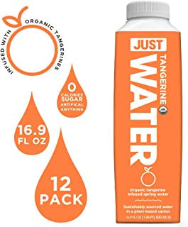 JUST Water Infused | Organic Fruit Flavored Spring Water | Eco-Friendly Boxed Bottled Water | Zero Sugar, Artificial Flavors, or Sweeteners, 8.0 Alkaline pH | Tangerine, 16.9 fl oz (Pack of 12)