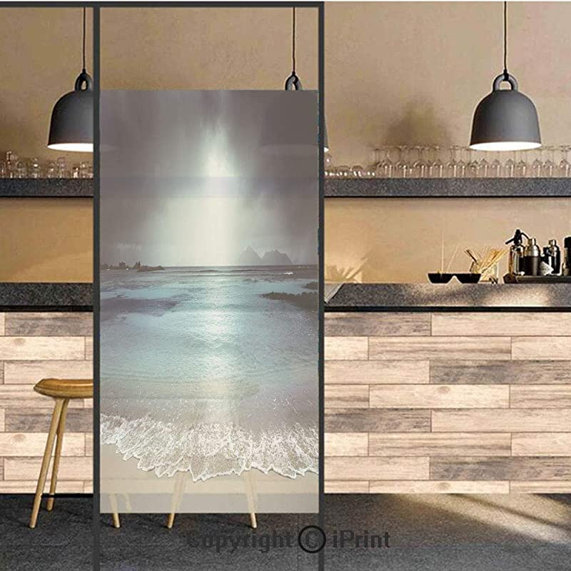 3D Decorative Privacy Window Films Storm Sky On The Beach Of La Dugue Island Seychelles Dramatic Scene Decorative No Glue Self Static Cling Glass Film For Home Bedroom Bathroom Kitchen Office 24x71 In