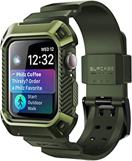 SUPCASE [Unicorn Beetle Pro] Case for Apple Watch 4 / Apple Watch 5 [44mm], Rugged Protective Case with Strap Bands for Apple Watch Series 4 2018 / Series 5 2019 Edition (DarkGreen)