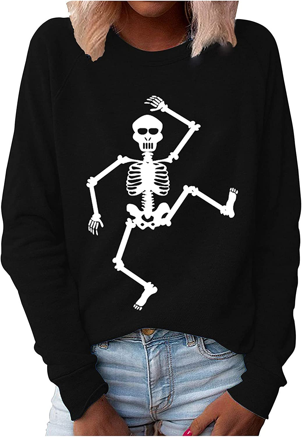 Bravetoshop Halloween Graphic Sweatshirts for Women Crewneck Loose Fit Casual Long Sleeve Cute Skeleton Pullover Tops