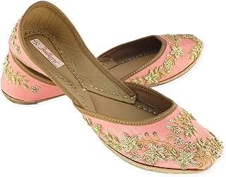 Fulkari Women's Paradise Gold Genuine Soft Leather Jutis | Bite and Pinch Free Jutis | Punjabi Jutti for Ladies Flat Mojari | Bridal Ethnic Flats for Girls |