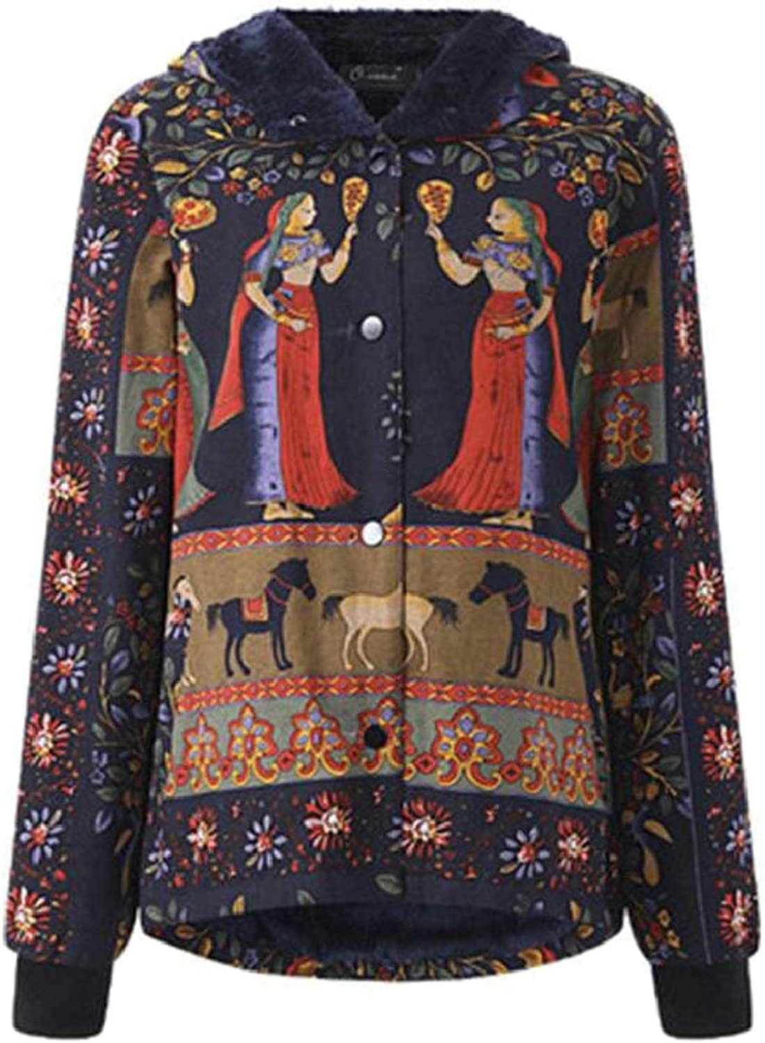 QDCACA Women's Thicken Button Ethnic Floral Printed Hooded Vintage Padded Coat