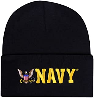 Black Offically Licensed US USN Navy Eagle Embroidered Beanie Cap Stocking Hat Military