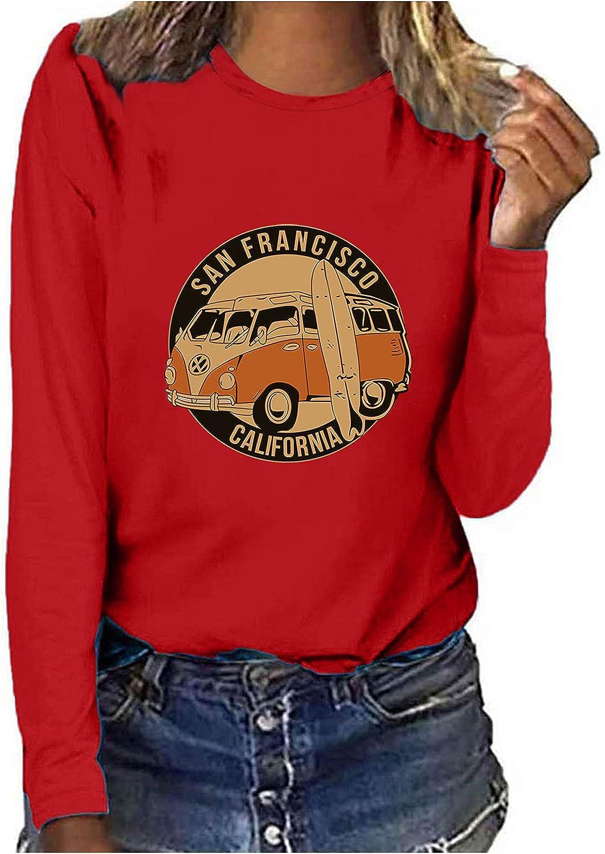 Womens Tops Sweatshirts for Women,Women's Causal Sweatshirt Vintage Graphic Crewneck Comfy Tunic Shirts Blouses Tops
