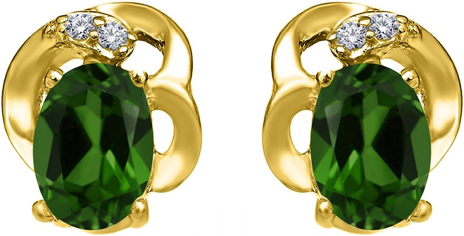 0.95 Ct Oval Green Chrome Diopside 18K Yellow gold Plated Silver Earrings