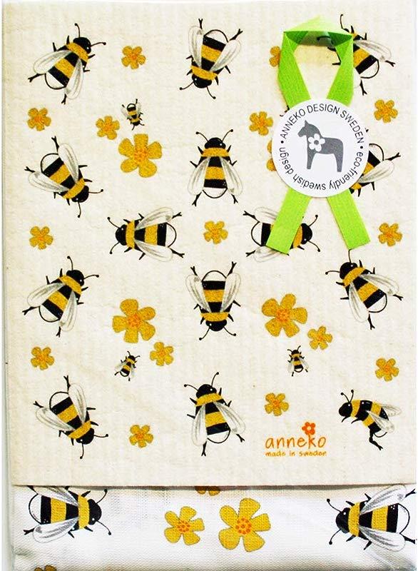 ScandinavianShoppe Dish Towel Dishcloth Set Bees 2 PC S