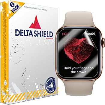 DeltaShield Screen Protector for Apple Watch Series 5 (44mm) (6-Pack) BodyArmor Anti-Bubble Military-Grade Clear TPU Film