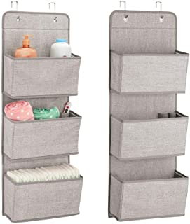 mDesign Soft Fabric Wall Mount/Over Door Hanging Storage Organizer - 3 Large Pockets for Child/Kids Room or Nursery, Hooks Included - Textured Print, 2 Pack - Linen/Tan