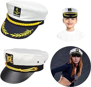 Sailor Captain Hat, Navy Marine Admiral Caps Yacht Costume with Random Accessory
