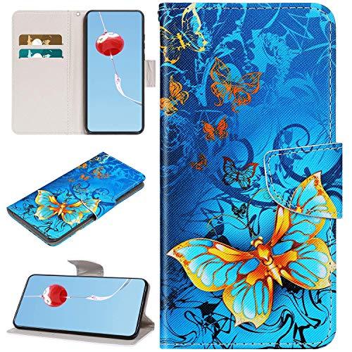 Urhause Kompatibel mit Xiaomi Redmi 7A Hülle Leder PU Handyhülle Bunt Karikatur Gedruckt Magnetic Klapphülle Standfunktion Ledertasche Brieftasche Tasche Kartenfach Etui Standhülle Schmetterling