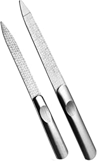 NOCTUA 2 Pack Diamond Nail File Stainless Steel Double Side Nail File Metal File Buffer Fingernails Toenails Manicure File...