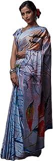 Indian Designer Digital Print Sari Soft Satin Crepe Shiny Formal Cocktail Saree Blouse 6078