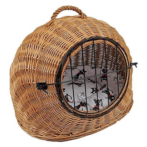 Katzenkorb aus Weide mit Kissen | Größe S 45x35x44 cm braun Natur | abnehmbares Metall-Gitter Transportkorb/Transportbox für Katzen Hunde | Katzenhöle Hundebett (S)