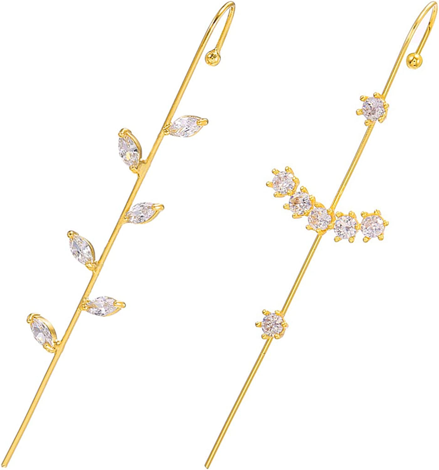 Ear Wrap Crawler Hook Earrings for Girls Gold Cuff Cheap mail order shopping Women Our shop OFFers the best service 14K