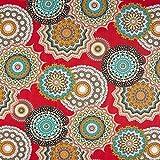 Cretonne Großes Mandala Muster – rot — Meterware ab
