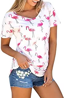 Womens Short Sleeve Shirts Casual Summer Tops Flamingos Printed Tees Blouse
