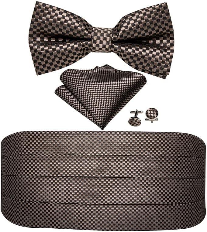 NSXKB Men Silk Floral Bow Tie Set Pocket Square Cufflink Formal Tuxedo Suit Accessories (Color : C)