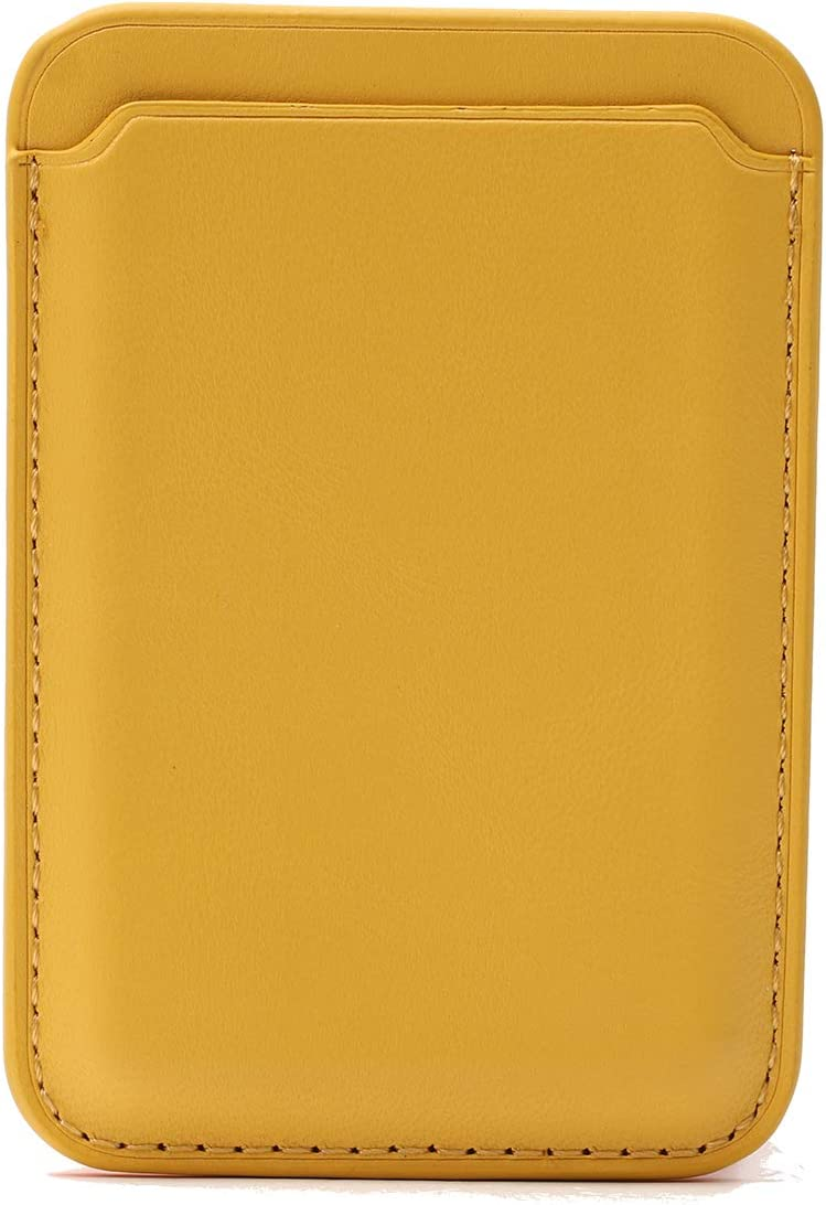 Magic Vosom Faux Leather Card Holder Smartphone Card Sleeve Compatible for iPhone 12 & Other Metal Shell Phones Yellow