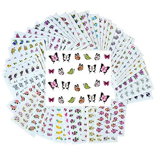 Tininna 50fogli di trasferimento dell' acqua adesivi per decorazione nail Tattoo nail art sticker–modello casuale