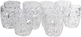 EPT 8 oz Plastic Beer Glasses, Dimpled Small Beer Glasses, BPA Free Hard Plastic Glasses, Small Beer Mug, Clear, 8oz Clear Plastic Cup, Oktoberfest Beer Stain, 8 oz Beer Glass, Pack of 10