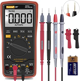 Auto Ranging Digital Multimeter TRMS 6000 with Battery Alligator Clips Test Leads AC/DC Voltage/Account,Voltage Alert, Amp...