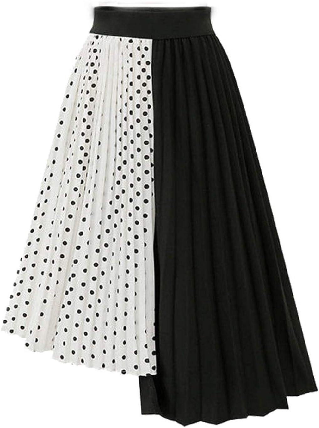 CHARTOU Women's Chiffon Polka Dot Pleated Ruffle Irregular Accordion A-Line Skirt