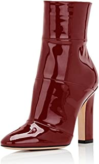29ab191b33 FSJ Women Retro Chunky High Heel Ankle Boots Pointed Toe Booties with Side Zipper  Size 4