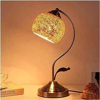 Lampe de Table Vintage Mosaic Retro Table Lampe de table en verre Métal Lampes de chevet pour salon Chambre à coucher Hôte...