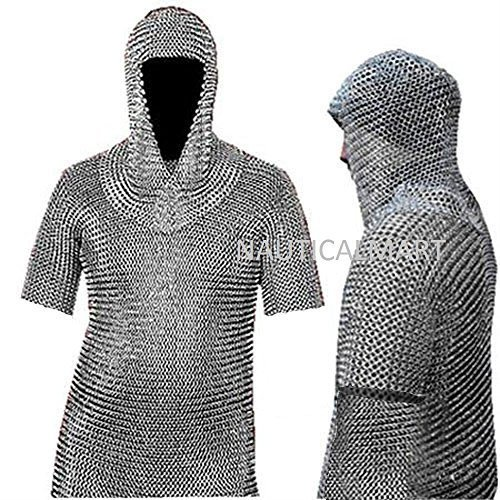 Medieval Chain Mail Shirt and Coif Armor Set (Full Size)