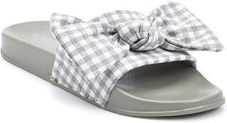 a02f67b6e1c3 Olivia Miller Women s Gingham Bow Slide Sandals