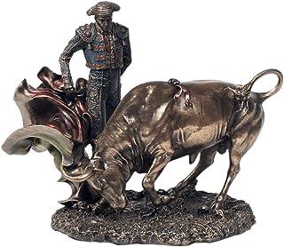 CAPRILO. Figura Taurina Decorativa de Resina Toro con Torero. Adornos y Esculturas. Animales. Decoración Hogar. Regalos Or...