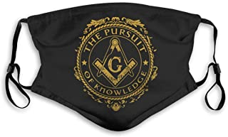 Masonic Symbols Freemasonry Bandanas for Men Face Scarf Neck Gaiter Pm2.5 with Filters S Black