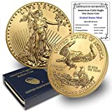 1986 - Present (Random Year) 1 oz American Gold Eagle Coin Brilliant Uncirculated in United States Mint Box with Certificate of Authenticity by CoinFolio $50 BU