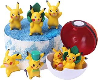 ELSANI 6 Pcs Pikachu Cake Toppers Poke Ball Party Cake Decoration Supplies Birthday Baby Shower for Children