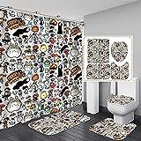 xiemengyangdeshoop Duschvorhang-Creative Cartoon Totoro Fashion Haushalt Hotel Badezimmer Produkte Vierteilige Badezimmermatte 90 (B) X 180 (H) cm