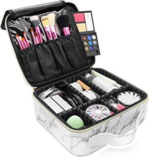 Marble Makeup Organizers and Storage,LKE Cosmetic Bags Waterproof Marble Travel Makeup Train Case Jewelry Travel Organizer with Adjustable Dividers (9.8x8.86x3.7 inches)