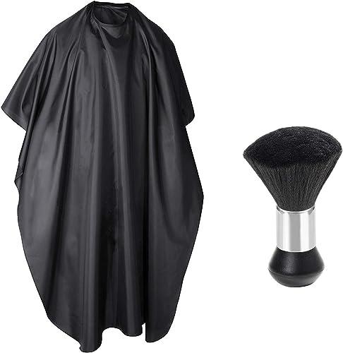 TRIXES Robe de coiffeur et brosse manuelle d'enlèvement sur le cou pour coiffeurs - Cape et brosse ergonomique unisex...