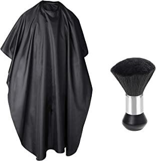TRIXES Hairdressing Barbers Gown and Handheld Neck Duster - Full Length Unisex Cape and Ergonomic Clippings Brush – For Professional Salon and Home Use – Black