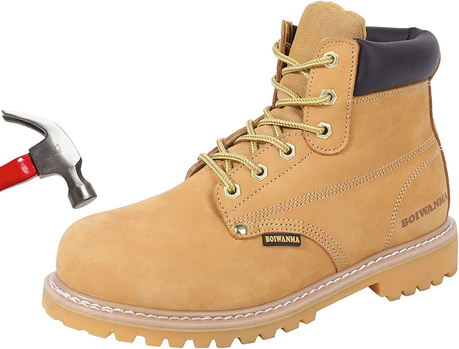 BOIWANMA Steel Toe Work Safety Boots for Men, Comfortable Work Shoes Durable Leather Non-Slip Oil-Resistant Lightweight Rubber Sole Construction Industrial Electrician Work Boots