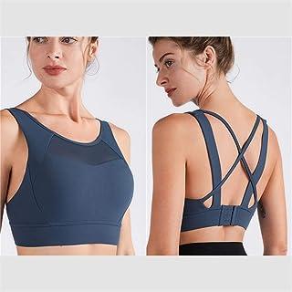 Women Sports Top Underwear Mesh Patched Beauty Back Bras Shockproof Gathering High Intensity Yoga Bras Crossed Back Staps ...