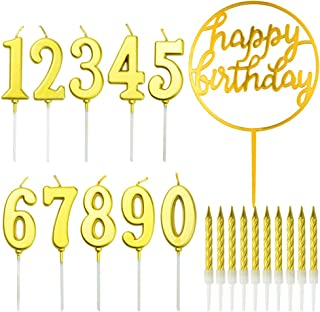 Birthday Candles Set, Jerbro 10PCS Glitter Cake Numeral Candles 0-9 and 10PCS Spiral Cake Candles with Cake Topper for Bir...