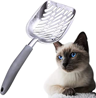 SunGrow Cat Litter Scoop, with Deep Shovel, Wall Mount and Strong Aluminum, Lightweight Handle, Two Minutes to Clean Poop Box, No Scatter Sides, Easy Sifting, Can Last Generations