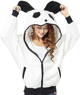 GGTFA Mujeres Casual Caliente Casual Panda De Animales De Felpa Zip A Través De Las Sudaderas con Capucha De La Sudadera D...