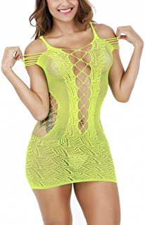 Ausexy Women's Mesh Sexy Lingerie Fishnet BabyDoll Thong See Though Mini Dress Free Size Bodysuit Open Front Hollow Out Nighty Sleepwear Nightwear