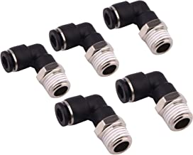 Push to Connect Tube Fitting - Male Elbow 1/4 Tube OD x 1/4 NPT Thread Plastic Push Fit Fitting, Pack of 5